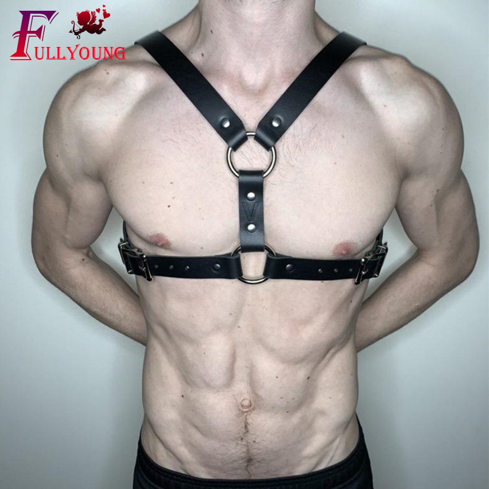 Fullyoung Leather Harness Sexy Erotico Punk Goth Body Bondage Pu Leather Male Harness Sexy Shoulder Strap Costume Men's Belt