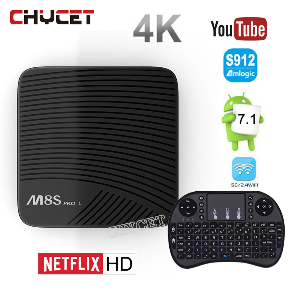 M8S Pro L Android 7.1 TV Box Amlogic S912 Octa Core 3GB RAM 16GB/32GB ROM 4K HD Smart Set Top Box Wifi BT LAN HDMI Media Player