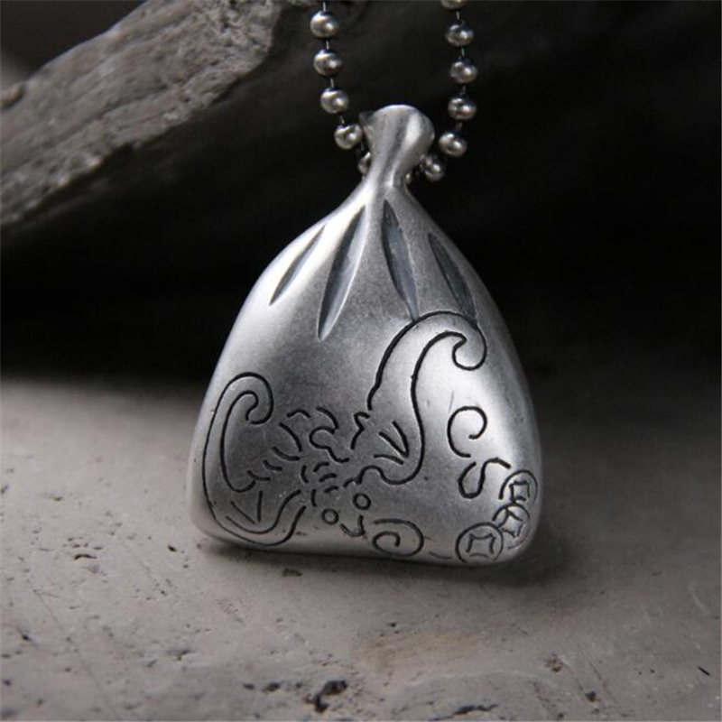 999 Sterling Silver Carved Money Bag Necklace Pendant For Womens Mens Chain Fashion Jewelry