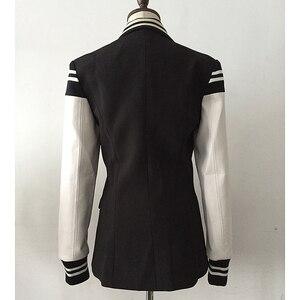 Image 3 - Hoge Kwaliteit Nieuwste Fashion 2020 Designer Blazer Vrouwen Lederen Patchwork Double Breasted Blazer Classic Varsity Jacket