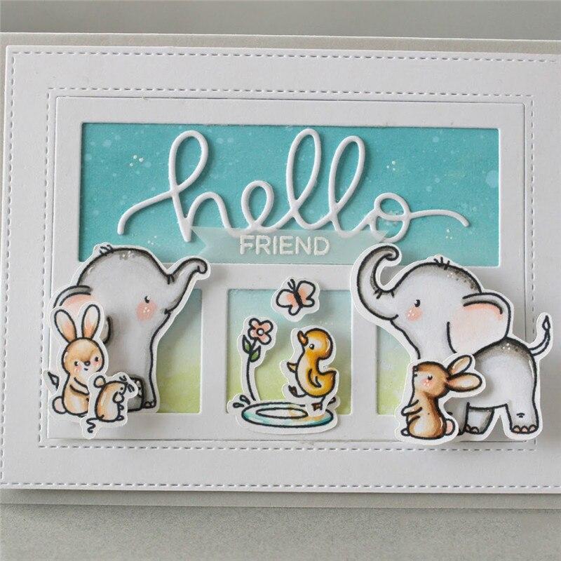 Eastshape 7Pcs Elephant Playing Metal Cutting Dies Animal Craft Dies Scrapbooking Card Making Album Embossing Stencil Die Cut in Cutting Dies from Home Garden