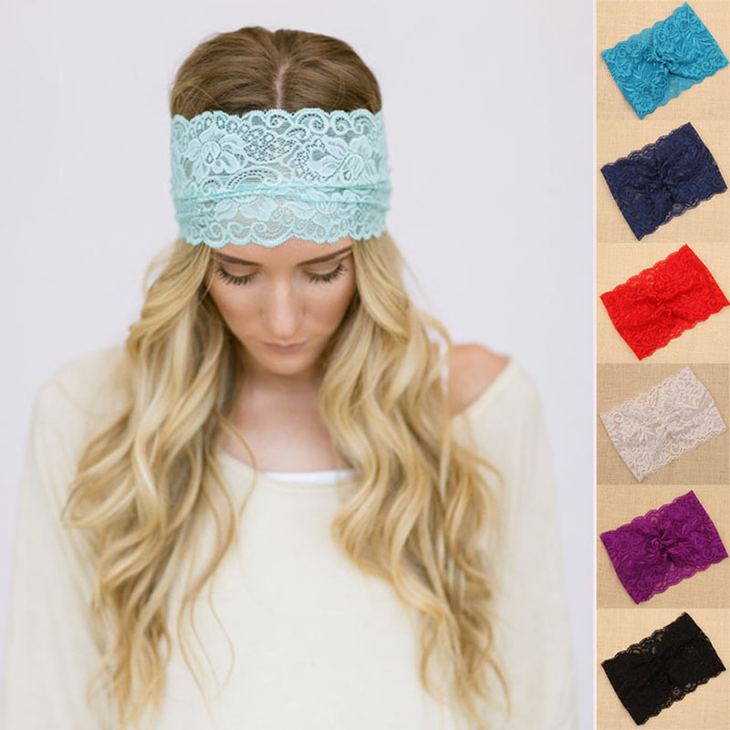 Upgrades Flower Lace Headbands for Women Twist Turban Headband Soft Stretchy Head Wrap Hairbands Girls Hair