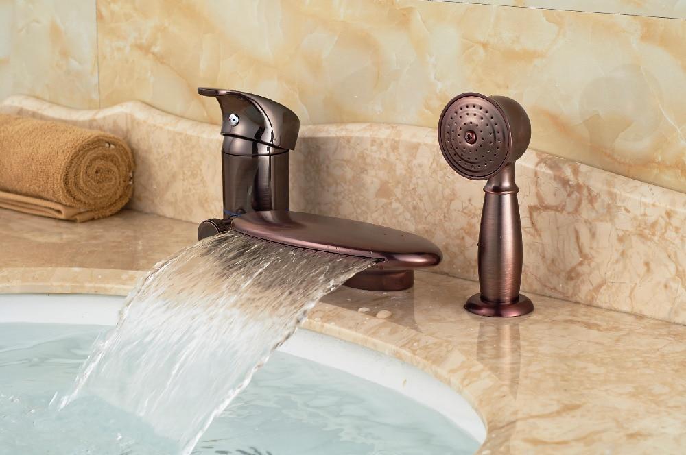 цена на Luxury Oil Rubbed Bronze Waterfall Bathroom Faucet Tub 3 pcs Sink Mixer Tap W/ Hand Sprayer