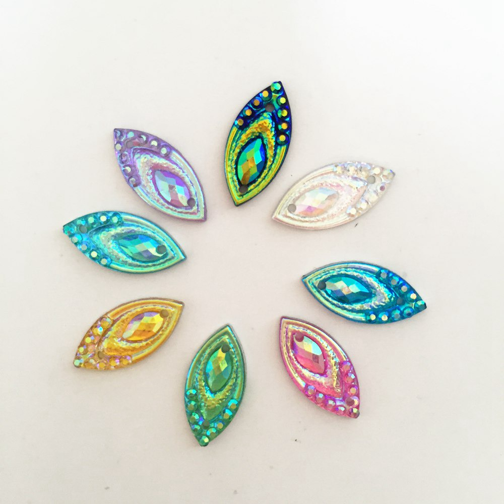 AB Resin 200PCS 7*15mm horse eye Flatback Rhinestone Wedding decoration 2 hole diy craft C96A*2