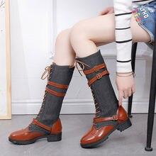Mujeres señoras zapatos de mezclilla romana montar hasta la rodilla botas  de vaquero Martin botas largas botas altas mujeres de . 301f74614d6a
