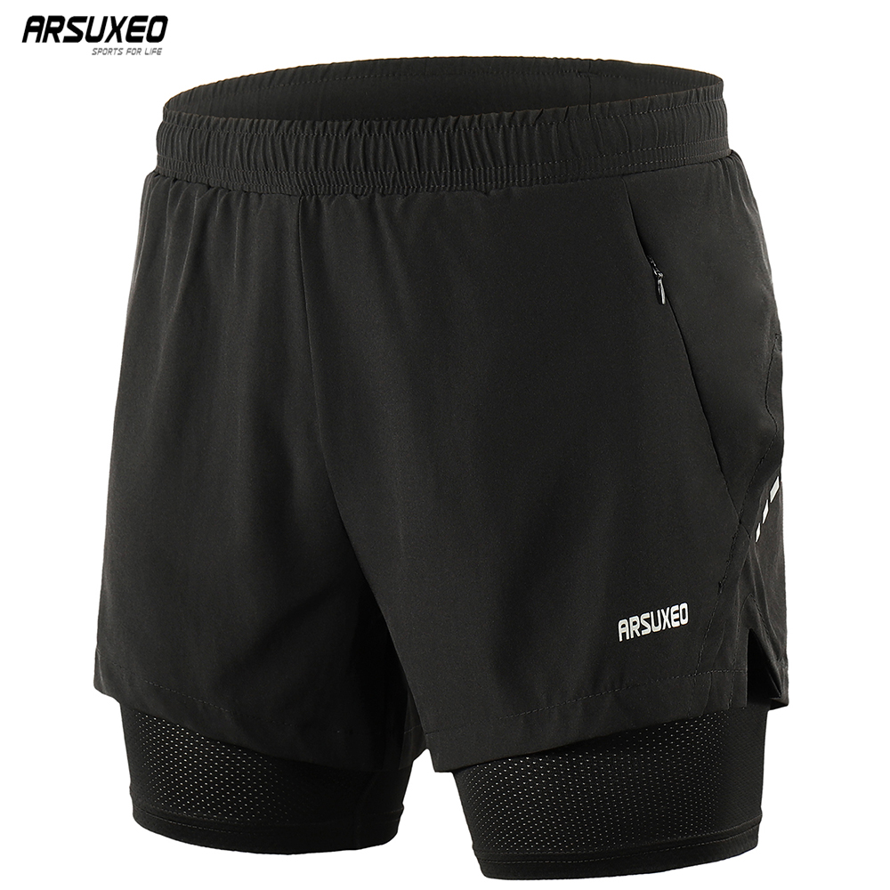 ARSUXEO 2019 Running Shorts Men Active Training Exercise Jogging 2 In 1 Sports Shorts With Longer Liner Quick Dry B202