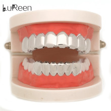 LuReen  Gold Teeth Grills Top & Bottom Grills Hiphop Tooth Grills Dental Halloween Vampire Cosply Teeth Caps Jewelry LD0041