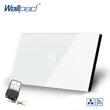 цена на Smart Home Wallpad US AU Standard Touch Switch AC 110~250V RF Tech Remote Fan Speed Regulator Wall Switch With Remote Controller