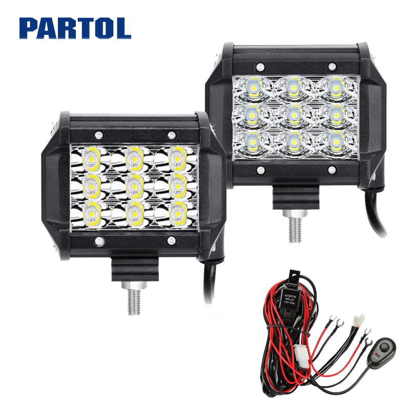 2X 7inch 36W CREE Flood LED Work Light Bar Offroad 4WD Boat with Wiring Harness