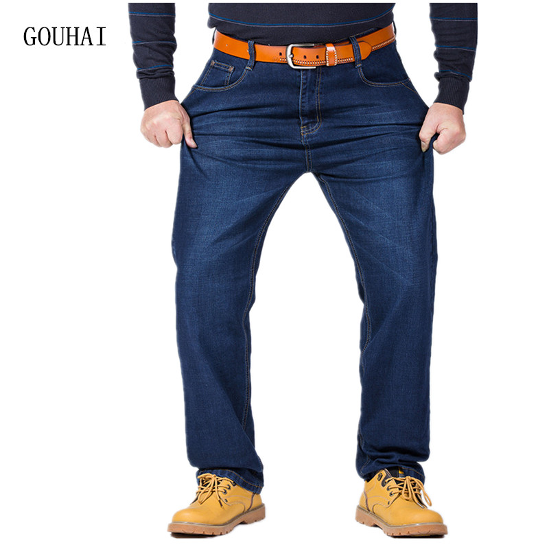 2017 New Fashion Denim Trouser Men Jeans High Stretch Jeans Mens Loose Business Work Pants Men High Quality Plus Size 30-48 men s cowboy jeans fashion blue jeans pant men plus sizes regular slim fit denim jean pants male high quality brand jeans