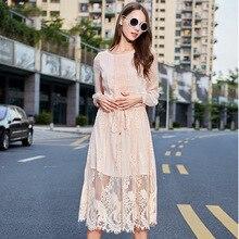 15 autumn European elegance long bi-fold wallets and put in a solid waist slimming lace stitching chiffon dress