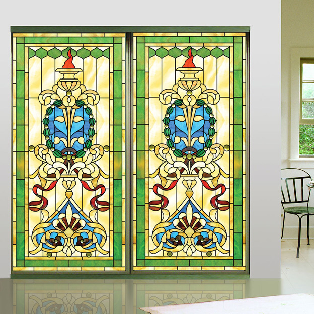 38b406776814b Iglesia esmerilado color stained glass window film decorativo etiqueta auto-adhesivo  o estática puede hacer de tamaño personalizado H901