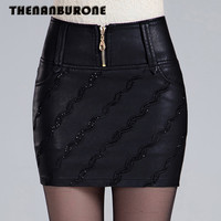 THENANBURONE Sexy PU Leather Mini Skirt 2017 Summer Women Short Leather Pencil Skirts Korean Womens High