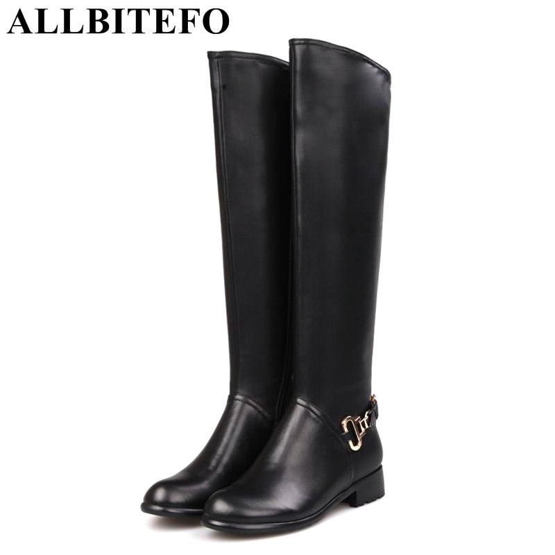 ALLBITEFO fashion brand genuine leather+pu metal charm women boots thick heel women knee high boots winter boots size:33-43 allbitefo golden zip decorate fashion spring winter snow shoes genuine leather pu women boots casual knee high boots size 33 43
