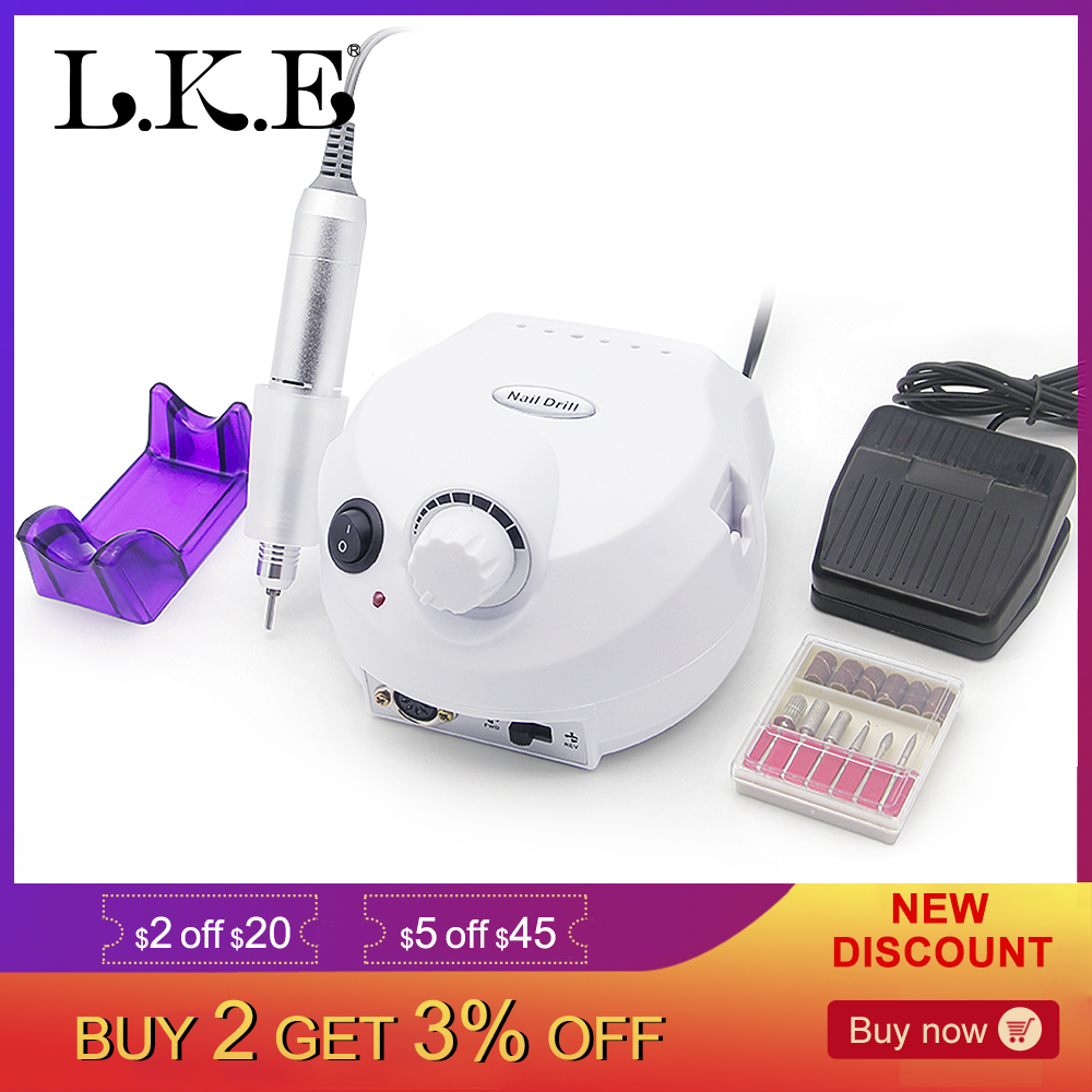 LKE 35000RPM Electric Nail Drill Machine Apparatus For Manicure Pedicure With Cutter Nail Drill High Efficiency Kit Nail ToolsLKE 35000RPM Electric Nail Drill Machine Apparatus For Manicure Pedicure With Cutter Nail Drill High Efficiency Kit Nail Tools