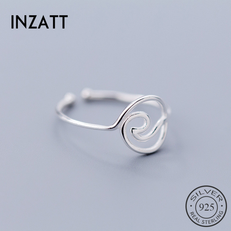 INZATT Real 925 Sterling Silver Geometric Hollow Round Wave Opening Ring For Fashion Women Party Fine Jewelry Punk Gift 2019