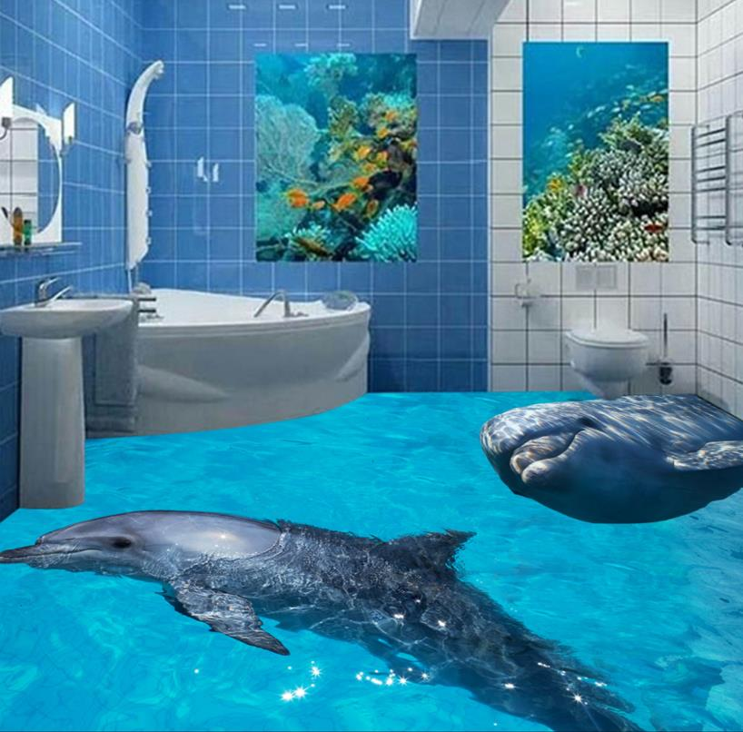 custom 3d floor murals 3d photo dolphin floor waterproof. Black Bedroom Furniture Sets. Home Design Ideas