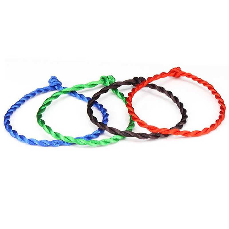 1PC moda czerwony nici String bransoletka szczęście czerwony zielony ręcznie liny bransoletka dla kobiet mężczyzn biżuteria Lover para