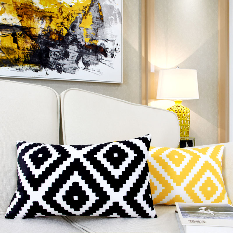 Colorful Geometry Black Cushion Cover Geometric Printed pillowcases Linen Yellow Pillow covers Sofa 30 50cm cushion cover in Cushion Cover from Home Garden