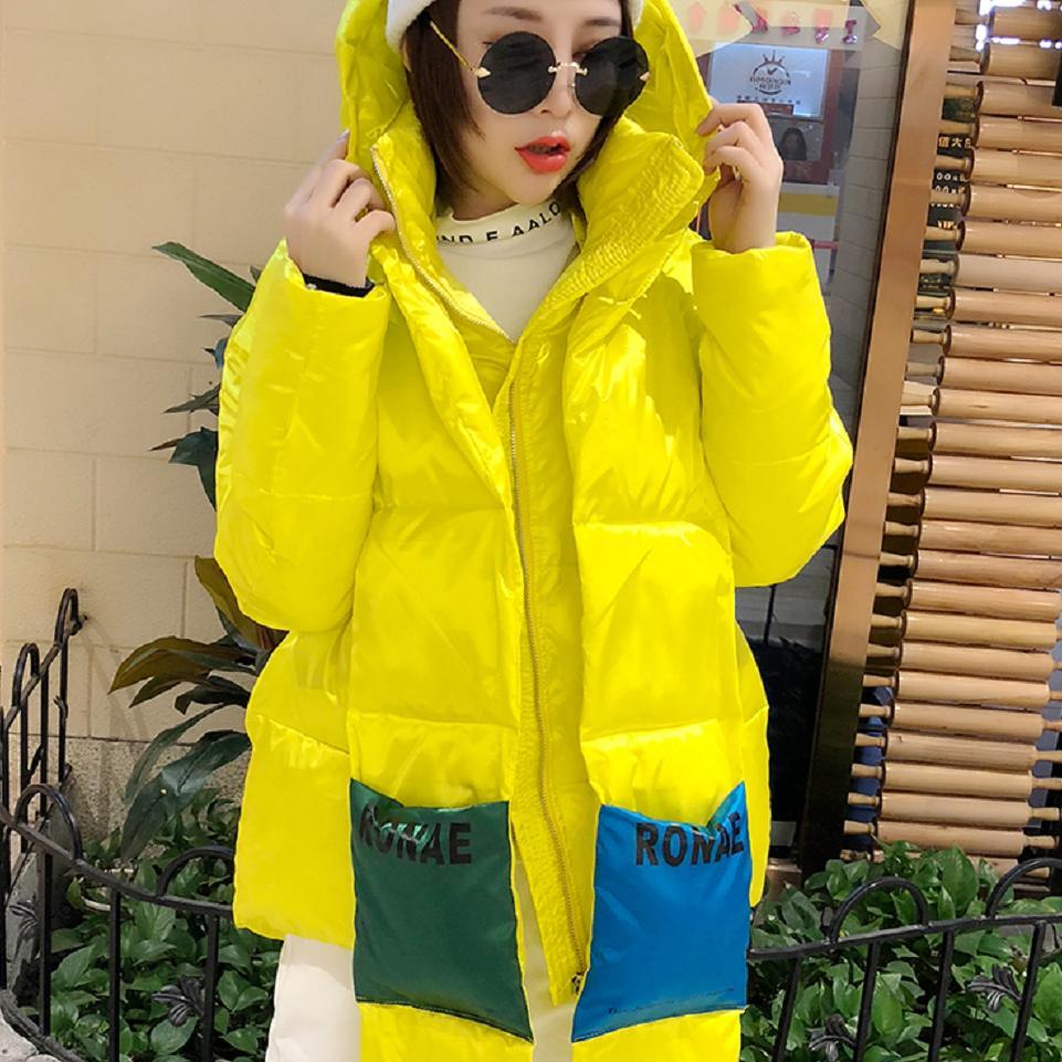 Unique Conception Femelle Manteau De Black Brillant Coton Hiver Mince Le Outwear Bas Veste À Vers Épais Femmes L1728 Chaud Occasionnel Capuchon Parkas Mode yellow AZZwqa