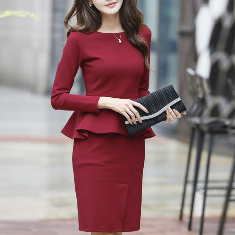 Womens Elegant Vintage Dress Suits 2019 Work Office Lady Formal Wear Business OL Pencil Dress Set Fake 2 Piece Outfits Plus Size formal wear