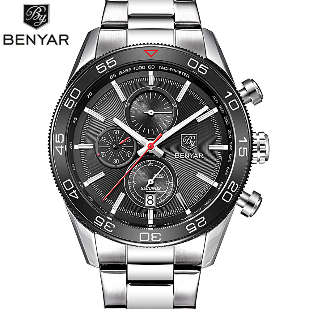 BENYAR Black Stainless Steel Brand Luxury Date Waterproof Quartz Watch Men Sport Watches Male Wristwatch Clock relogio masculino skmei luxury brand stainless steel strap analog display date moon phase men s quartz watch casual watch waterproof men watches