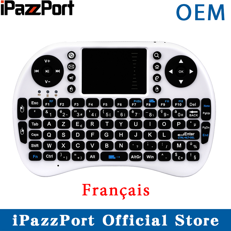 Ipazzport Mini Keyboard Air-Mouse Raspberry Android Touchpad French with for Tv-Box PC