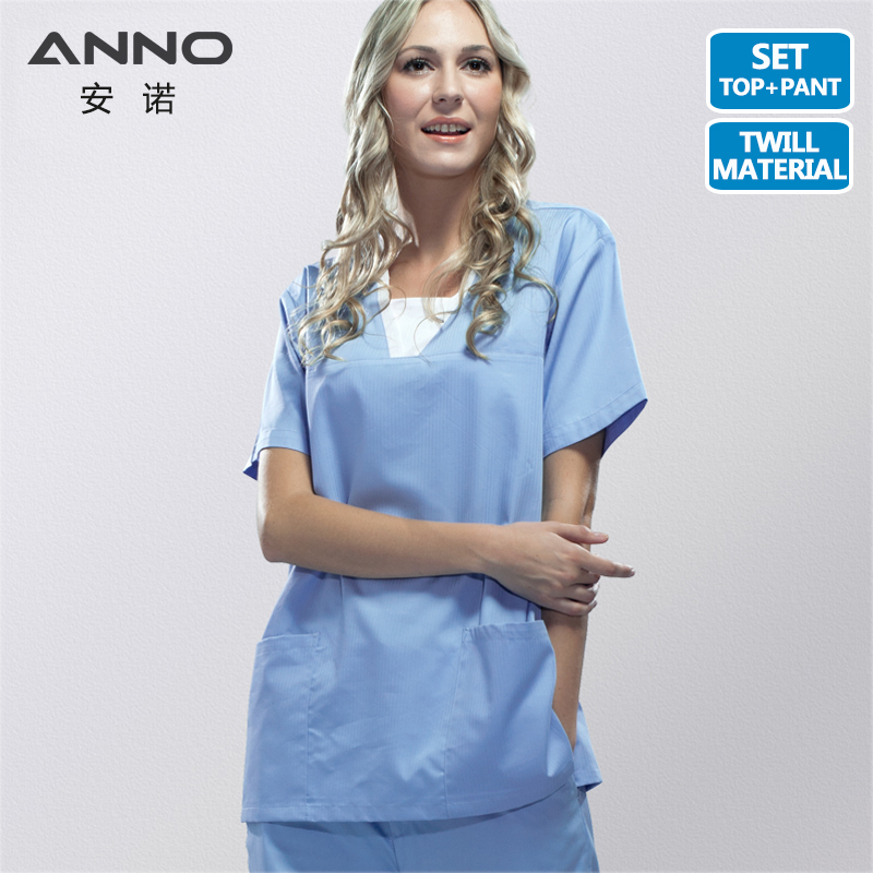 ANNO Summer Nurse Uniform Blue Medical Scrubs Set Short Sleeves Doctor Suit Women Man Hospital Dental