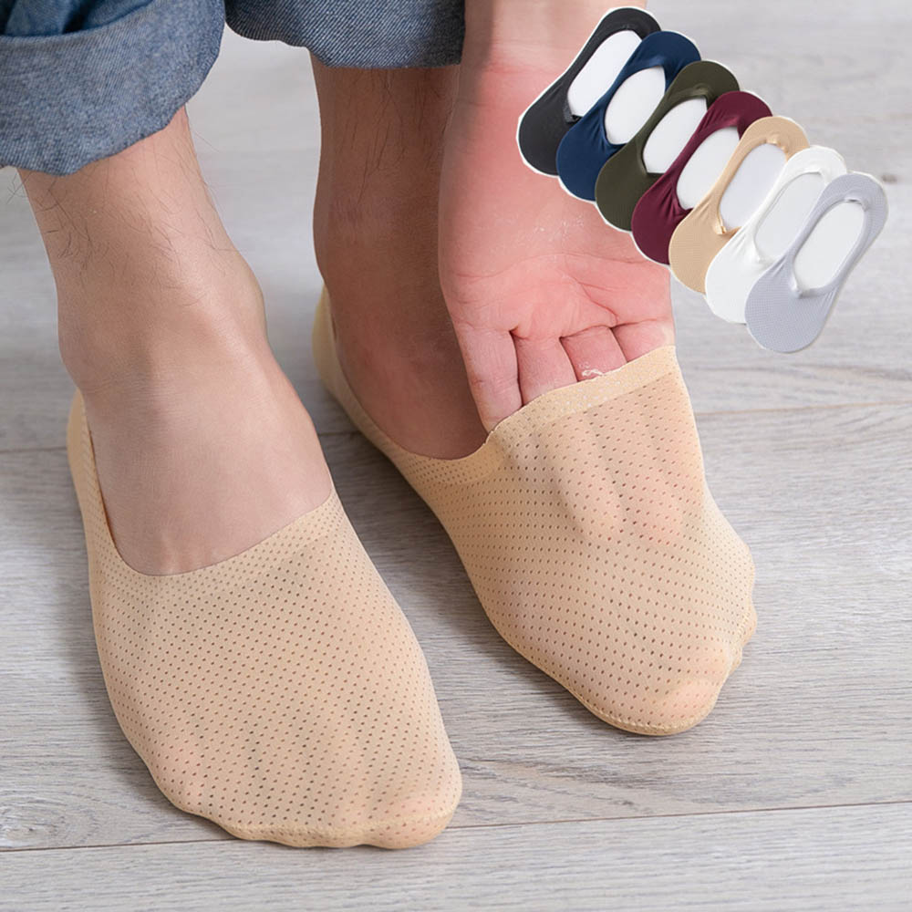 Newest Summer Cool Silk Man Ankle Sock Solid Ultra Thin Section Invisible Breathable Silicon Anti-Fall Heel Male Short Sock
