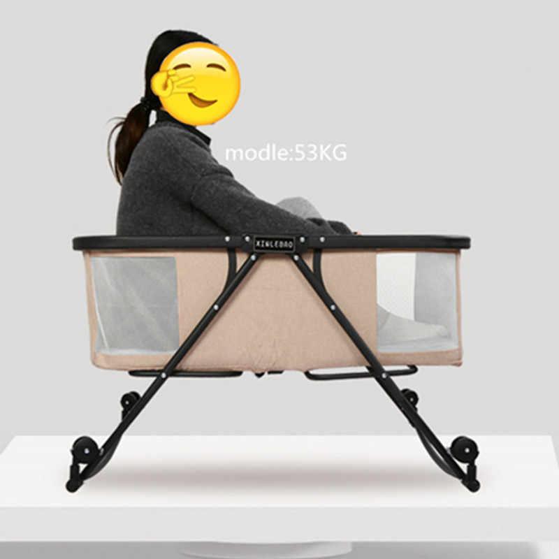 Портативная Складная люлька, тихий детский диван-кровать с колесами, москитная сетка, воздухопроницаемая, для путешествий на открытом воздухе, детские кровати