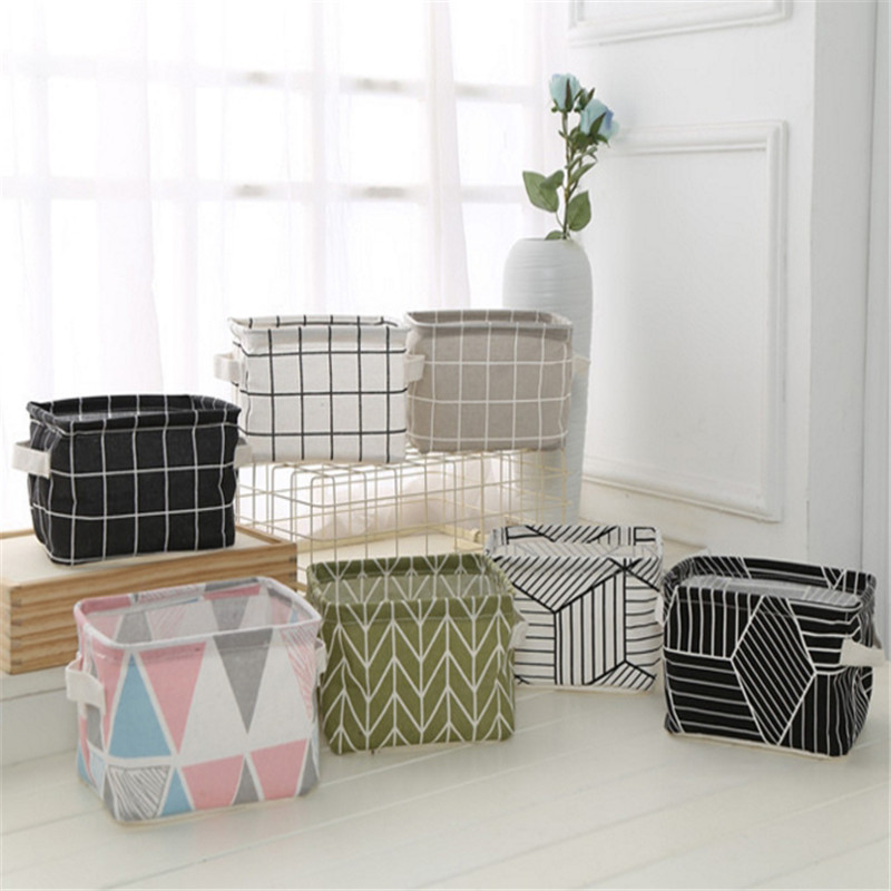 Underwear Storage-Basket Cabinet Desktop Office Cotton Linen Sundries Printing Cute