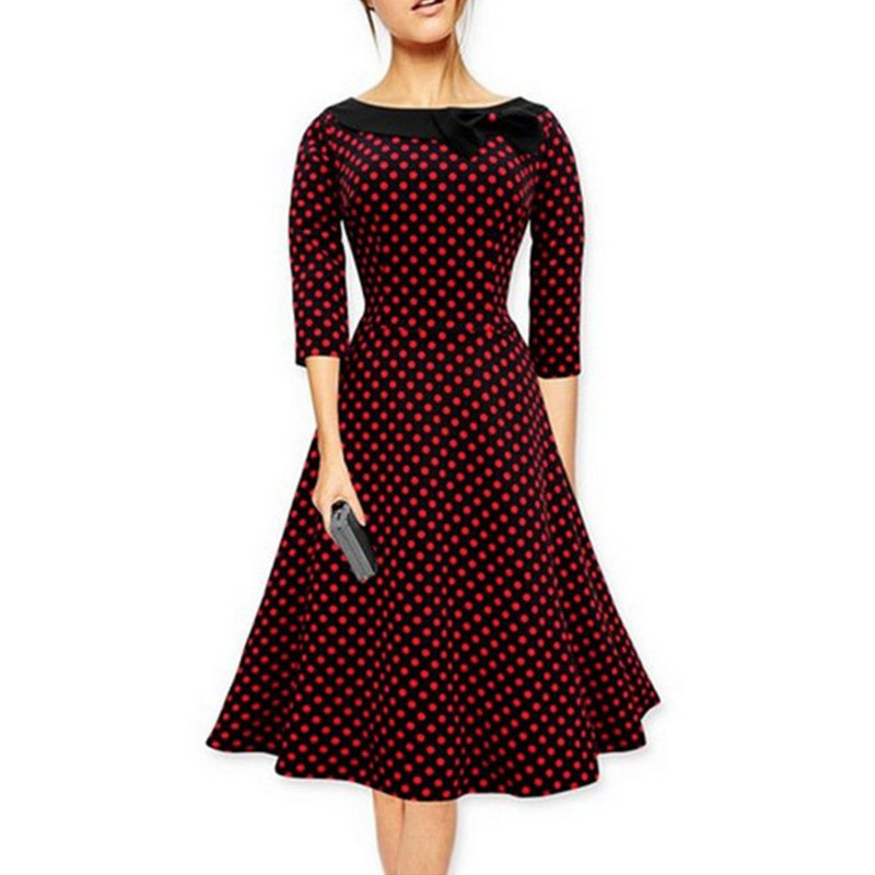 Women Autum Elegant Polka Dot Dress Big Hem Female Midi Pleated Vintage  Dress Plus Size Party Dresses For Ladies-in Dresses from Women s Clothing  on ... 55555627a4d5