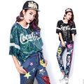 2016 Harajuku Verão Letras de Lantejoulas t shirt Mulheres Hiphop Estilo Top curto para mulher