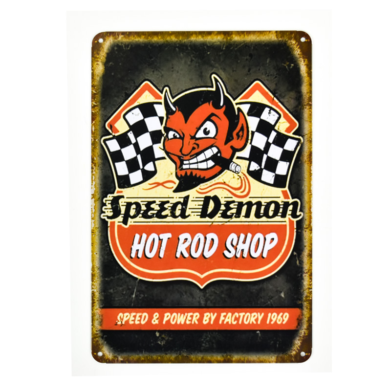 Metal Sign Vintage Car speed DemonVintage Metal Tin Signs Retro Tin Plate Sign Wall Decoration for Cafe Shop and Restaurant ...