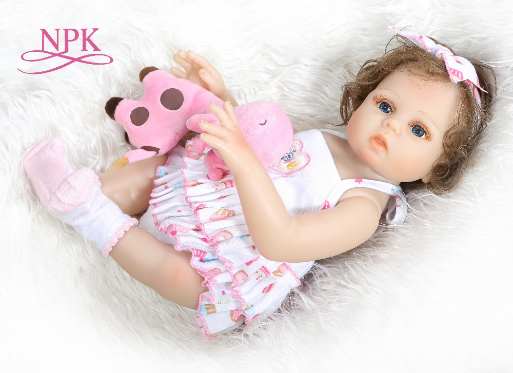 48CM full body slicone bebe doll reborn baby girl Bath toy hand rooted curly hair waterproof