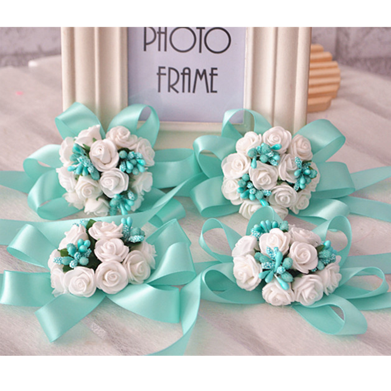New Tiffany Blue Wrist Flowers Bouquets Bride And Bridesmaids