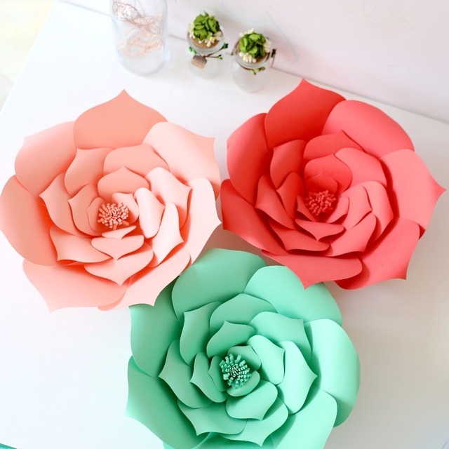 40cm DIY Paper Wedding flowers Birthday Baby Shower Bridal Aniversary Party idea Flower Template photo backdrops home Decoration