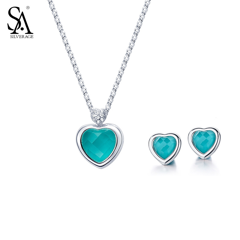купить SA SILVERAGE Classic 925 Sterling Silver Jewelry Set Blue Gemstone Heart Stud Earrings & Necklaces for Women Wedding Gift по цене 3729.66 рублей