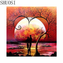 Diy round drill diamond painting cross stitch mosaics Full 100% cover embroidery Seaside couple character diamond embroidery y