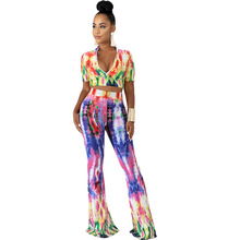 Adogirl tie-dye floral print women two pieces sets sexy v neck crop top + flare pants night club suits high elastic boho outfits black self tie design random floral print v neck crop top