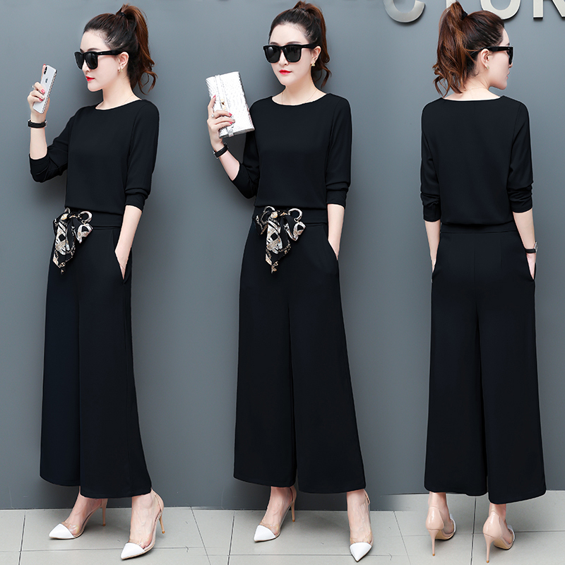 Chiffon 2 Piece Set Women Long Sleeve Tops And Wide Leg Pants Trousers Set Suits Spring Autumn Casual Office Elegant Women