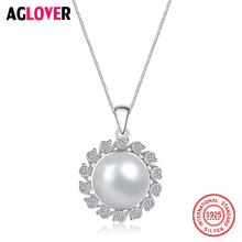 100% 925 Sterling Silver White Pearl Pendant Necklaces 18 inch Box Necklace Chains Wholesale Women Jewelry