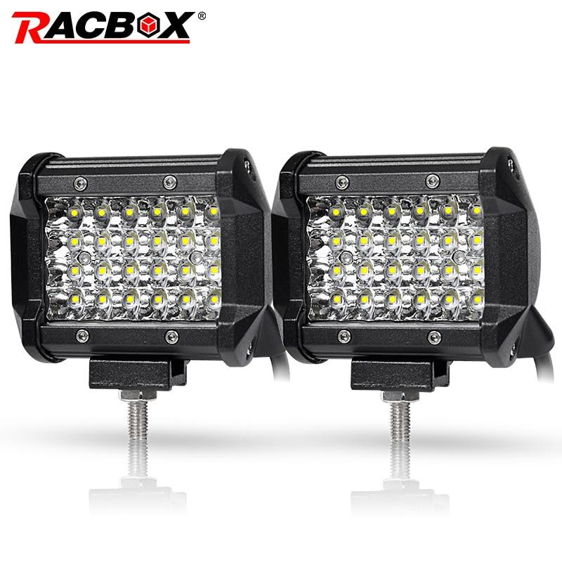 2 Pc 4 pouces 4 Rangées 72 W Offroad LED Light Work Faisceau de Tache Spotlight pour Jeep UAZ SUV ATV 4x4 Voiture Tracteur Camion 12 V 24 V LED Barre Lumineuse