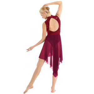 Image 4 - กางเกงยีนส์ผู้หญิงผู้ใหญ่ Halter คอแขนกุด Backless Shiny Sequined สูงต่ำตาข่าย Leotard บัลเล่ต์เต้นรำชุด