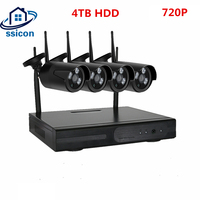 SSICON 4CH 720 P массив HD дома WI FI Беспроводной безопасности Камера Системы DVR комплект 1MP WI FI Камера видеонаблюдения Системы 4 ТБ HDD