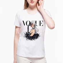 MOE CERF 2017 Summer Fashion Tops VOGUE Girl Letter Printed T Shirt Short Sleeve O Neck Casual Tops Tee Shirts L7-114