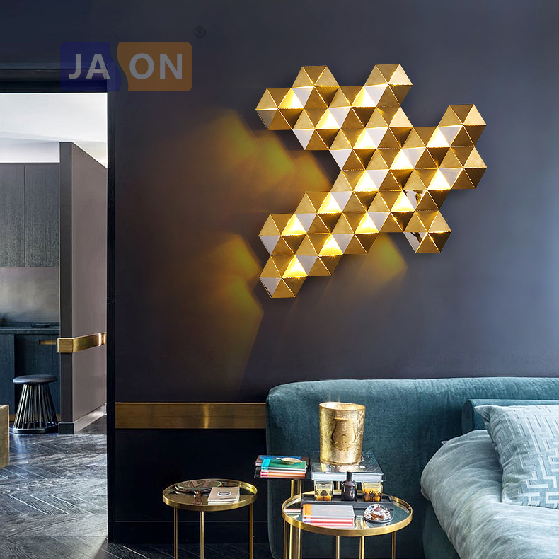 LED Postmodern Stainless Steel Golden Honeycomb LED Lamp LED Light Wall lamp Wall Light Wall Sconce
