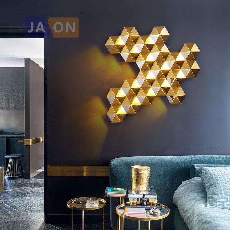 LED postmoderna de acero inoxidable panal de color dorado llevó la luz llevada de la lámpara de pared para almacenar dormitorio vestíbulo|wall sconce|light wall sconce|lamp wall -