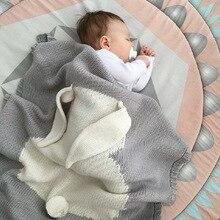 Детское одеяло для новорожденных; детское одеяло для пеленания; вязаное одеяло для детей с рисунком кролика; клетчатое детское постельное белье для малышей