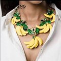 OMENG New Design Exaggerated baroque banana leaf necklace set retro fashion clavicle chain TZ011